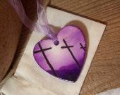 Purple Crosses Keepsake Ornament - handmade Christian decor - Easter gift Good Friday Resurrection of Jesus - pretty gift!