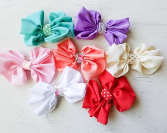 Messy bow clips, chiffon bow clips, printed elastic girl hair bows, baby girl hair clips, Large bows Photo prop