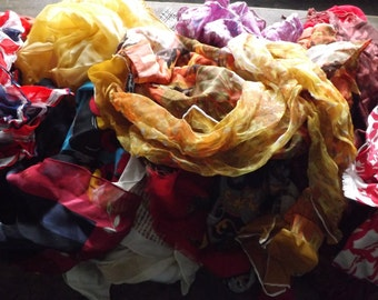32 PIECE SCARF LOT Vintage Scarves Large Lot of Scarves Wholesale Huge Scarf Lot 1950s 1960s 70s 80s Scarves Silk Geometric Polka Dot Print