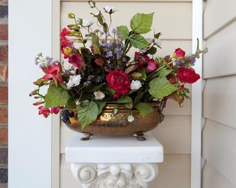 arrangement wildflower office flower arrangements. delighful arrangements vintage floral arrangement in footed brass planter silk flowers  wildflowers and berries cottage chic with wildflower office flower arrangements