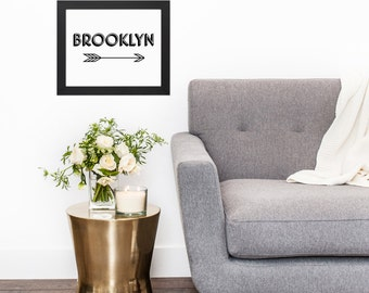 Black White Brooklyn Arrow Typography Original Modern Home Office Decor Graphic New York City NYC Pattern Print Poster