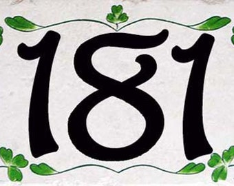 House number plaque, Irish house numbers, ceramic house numbers, house numbers, shamrock, clover, St Patricks day gift, green house number