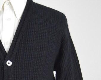 Vintage 50s/60s Black Wool Cardigan by Marshall Field Size Medium