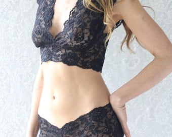 Semi Sheer Black Lace Lingerie. Lace Bra and Matching French Knicker Set. Handmade lingerie from Brighton Lace