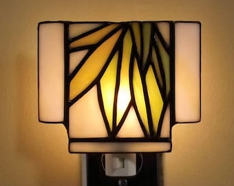 Stained Glass Leaf Night Light Green Yellow Original Handmade Free Domestic Shipping
