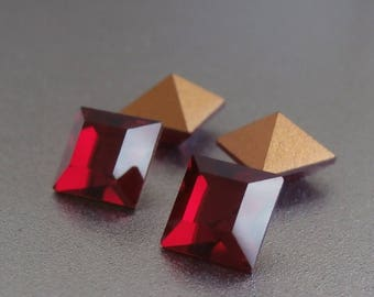 6x6 MM Siam Square Swarovski Crystals ~ 6 Pieces Per Order ~ Gold Foil Back ~ 1st Quality ~ Vintage Swarovski Components ~ Siam Ruby Red