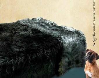 Plush Black Shag Faux Fur Bedspread - Gray Wolf Trim - Bear Design - Designer Throws by Fur Accents USA