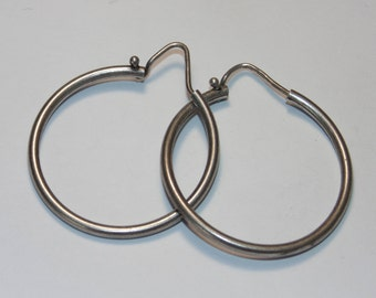 "SE384 Vintage  Estate Sterling Silver Tube Hoops Hoop Pierced Round Circle Cute Earrings 4 grams .925 Jewelry Jewellery For Her 1"" wide"