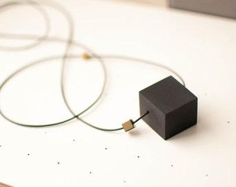 Geometric necklace, Modern necklace, Cube necklace, Black cube necklace, Minimalist necklace, Contemporary pendant
