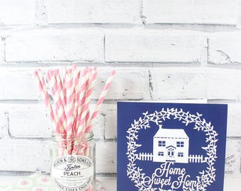 SALE!! - PRINTED CARD - Home sweet home - New home papercut printed card by QueenieDot