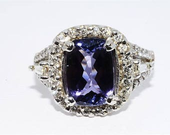3.57ctw Natural Tanzanite & Diamond 14kt White Gold Ring