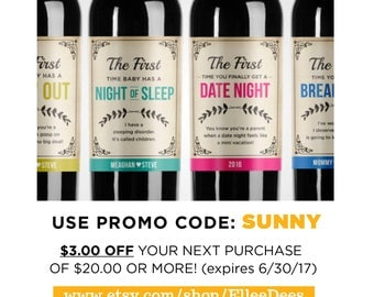 Mommy Milestone Wine Labels // Champagne Labels // Mommy Firsts // Baby Shower Gift // New Mom Gift // Personalized Shower Gift