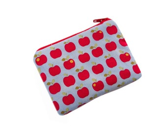 coin purse, money purse, change purse, zippered coin purse, girls wallet,  zippered pouch, apple