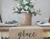 Burlap Table Runner, Table Runner, Grace Table Runner, Farmhouse style Table Runner *Free Shipping*