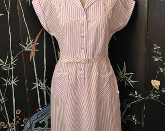 1950s Purple Striped Cotton Dress - Large