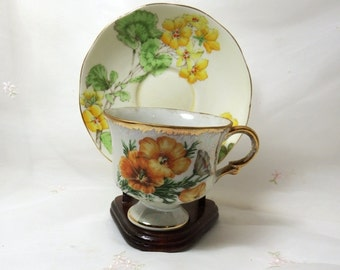 Vintage 1950s Cup with Yellow Floral Motif Made in Japan