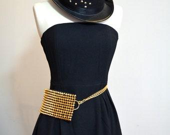 Festival fanny pack - metallic gold spike mesh hip bag, convertible purse / cross body bag