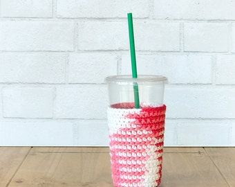 Valentines Day Gift for Her - Iced Coffee Sleeve - Crochet Coffee Sleeve - Frozen Coffee Sleeve - Reusable Coffee Sleeve - Coffee Cup Sleeve
