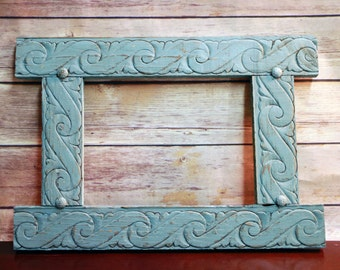Turquoise Picture Frame with Tacks Rustic Hand Painted