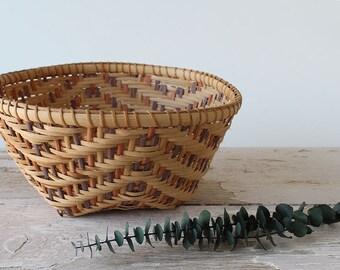 Vintage Multicolored Wooden Reed Basket