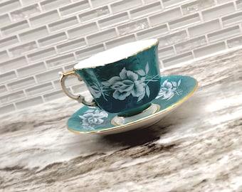 Antique Aynsley white rose green tea cup and saucer set, fluted teacup, quatrefoil tea set, bone china tea set