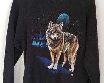 80's Wolf & Moon Vintage Sweatshirt