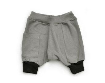Baby Boy Clothes - Organic Baby Clothes, Organic Baby Boy Shorts, Baby Shorts, Baby Harem Shorts, Baby Boy Harem Shorts-Storm Gray,Free Ship