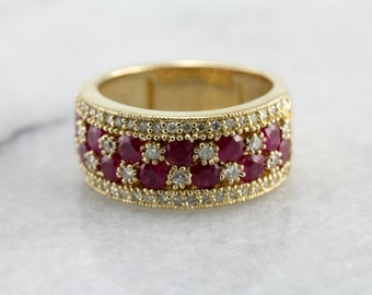 Ruby and Diamond Statement Band in Yellow Gold Y00R4D-D