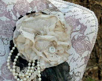 SALE!!! Tarnished Ivory-Vintage Fabric Pin- Yesteryear Collection