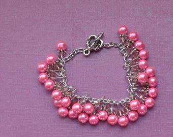 Hot pink cluster bracelet, dark pink cluster bracelet, pink pearl cluster bracelet, chunky pink bracelet, pink bridesmaid bracelet ideas