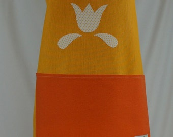 Apron handmade, gift for her, tulip, yellow