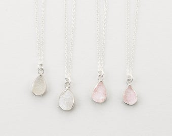 Teardrop Druzy Pendant Necklace / Gold Edged Stone on 14k Gold fill Chain / Druzy Tiny Crystals Genuine Simple Gemstone Necklace / LN726