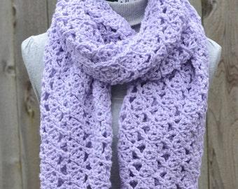 Purple Open Weave Crochet Shawl/Scarf Ready to Ship