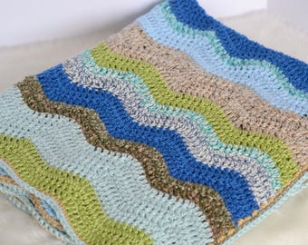 Waves of Blue Baby Blanket Ready to Ship