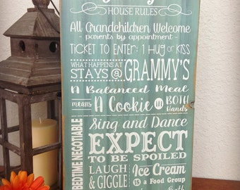 Grandparents Rules, Grammy's House, Family Rules Sign, Gift for Grandma
