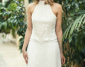 Short Wedding Dress with Accordion Pleated Chiffon Skirt and Thin Straps L23, Simple Wedding Dress, Bohemian Wedding Gown, Short White Dress