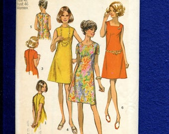 1960's Simplicity 8882 Fitted A-Line Dress with French Darts Size 42 UNCUT