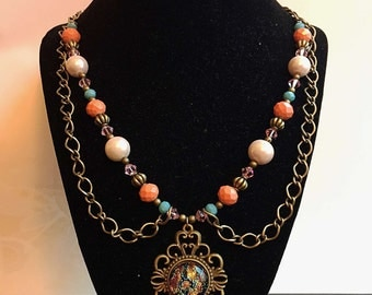 Victorian Inspired Stain Glass Necklace