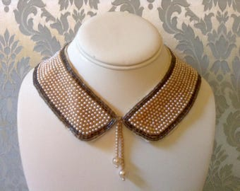 Vintage Pearl Collar Muli Row with Bugle Bead Trim Truly Regal Art Craft Japan