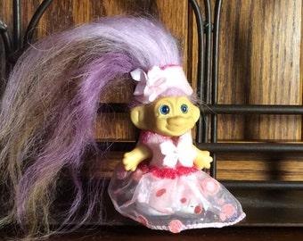 Vintage troll doll, 2 1/2 inch troll, baby troll doll, new hair, new outfit, original blue eyes