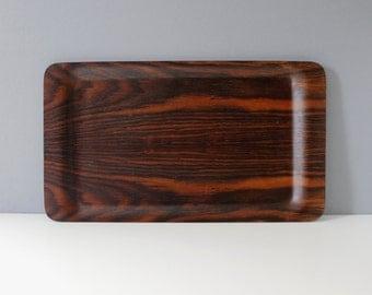 Vintage Molded Rosewood Serving Tray Danish Modern