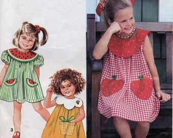 Adorable girl's dress pattern, Watermelon, Strawberry or Flower pot pockets, Simplicity 7784, Size 2, 3, 4