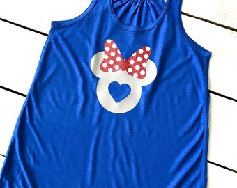 I LOVE Minnie Mouse Bow Flowy Racerback HEART Tank Top Disney Trip Bachelorette Party Family Reunion Mint Teal Green Lovers