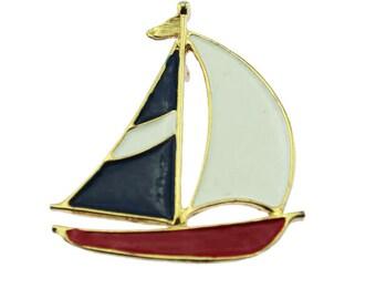 Vintage Enamel Sailboat Brooch, Enamel Ship Brooch, Vintage Sailing Brooch