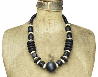 Large Wood Bead Necklace, Chunky Wood Bead Necklace, Chunky Wooden Bead Necklace, Natural Wood Bead Necklace