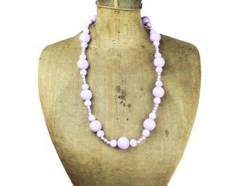 Vintage Purple Bead Necklace, Chunky Purple Necklace, Long Purple Necklace