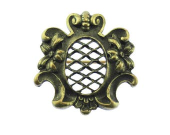 Antique Gold Brooch, Victorian Gold Brooch, Victorian Brass Brooch, Antique Brass Flower Brooch