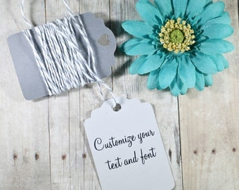 Custom Light Grey Gift Tags set of 20 - Custom Wedding Favor Tags - Wish Tree - Custom Merchandise Tags - Pale Grey Baby Shower