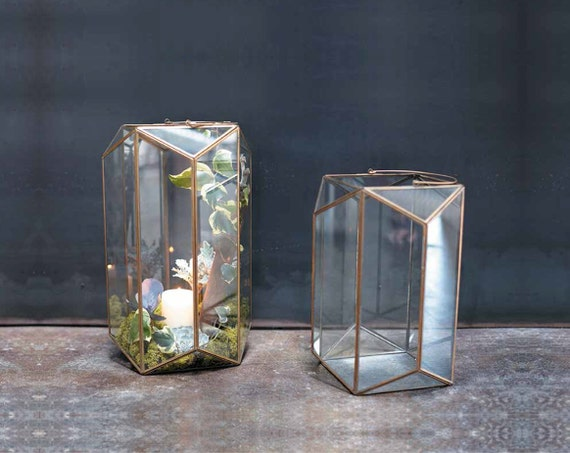 Geometric glass terrarium hanging air plant container table for Decor 718 container