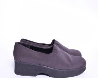 Vintage 90's Brown Fabric Platform Shoes